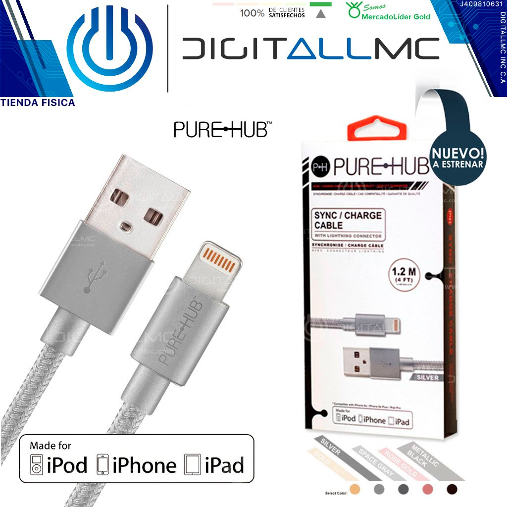 Cable Lightning Certificado Pure-hub 1.2m iPhone 5, 6, 7, 8, X, XR